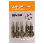 Купить Клипса безопасная Orange AC2041 Lead clip+stopper with tail rubber (пластик,5шт)