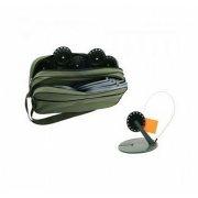 Купить Набор жерлиц Три Кита, с угловой стойкой в сумке Щукарь (d195 d60) с черной катушкой (10 шт)