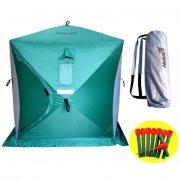 Купить Палатка зимняя Helios куб 2-х местная (150x150x170 см, зелено-серая)
