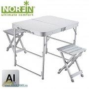 Купить Стол складной для рыбалки Norfin BOREN NF алюминиевый 80x60 с 2 стульями