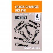 Купить Вертлюги быстросъемные Orange Carp AC2021 Quick change big eye (sz4, 10шт)